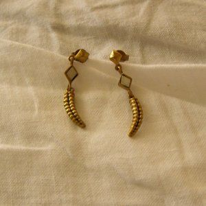 A Peace Treaty Gold Earrings With White stone New